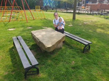 We loved these fun picnic benches